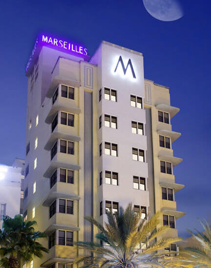 Marseilles, Miami Beach Oceanfront Hotel at Night